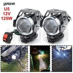 Uniwersalne led na motocykl światła U5 12V lampa pomocnicza reflektor samochodowy jazdy dziennej DRL przeciwmgielne światło do bmw R1200RT S1000R F800GT akcesoria na