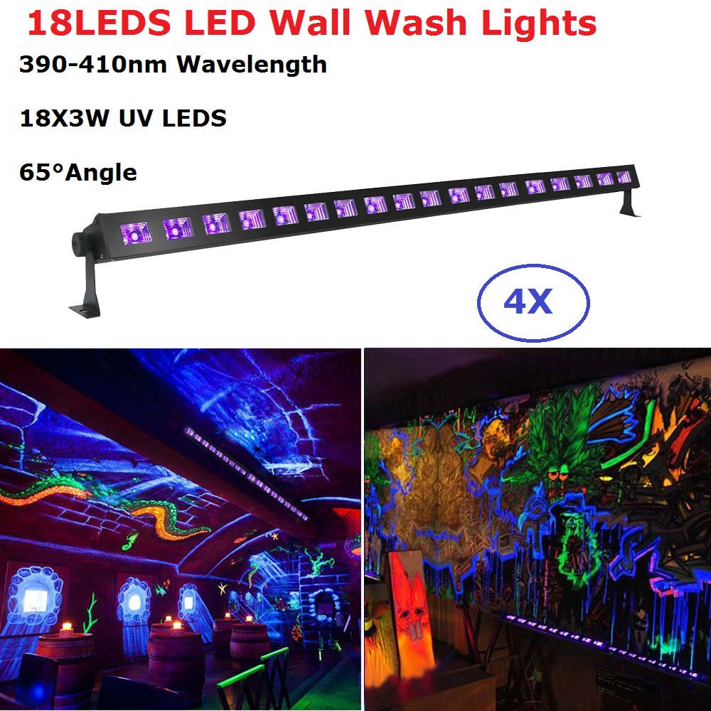 4Pcs/Lot Newest 18LEDS 3W Wall Washer LED UV Stage Light Bar Black Party Club Disco Light For Christmas Indoor Stage Dj Lights екатерина зуева один ноутбук меня понимает