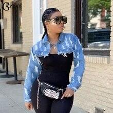 GBTXTY Streetwear Ultra Short Denim Jackets Women Ripped Hol