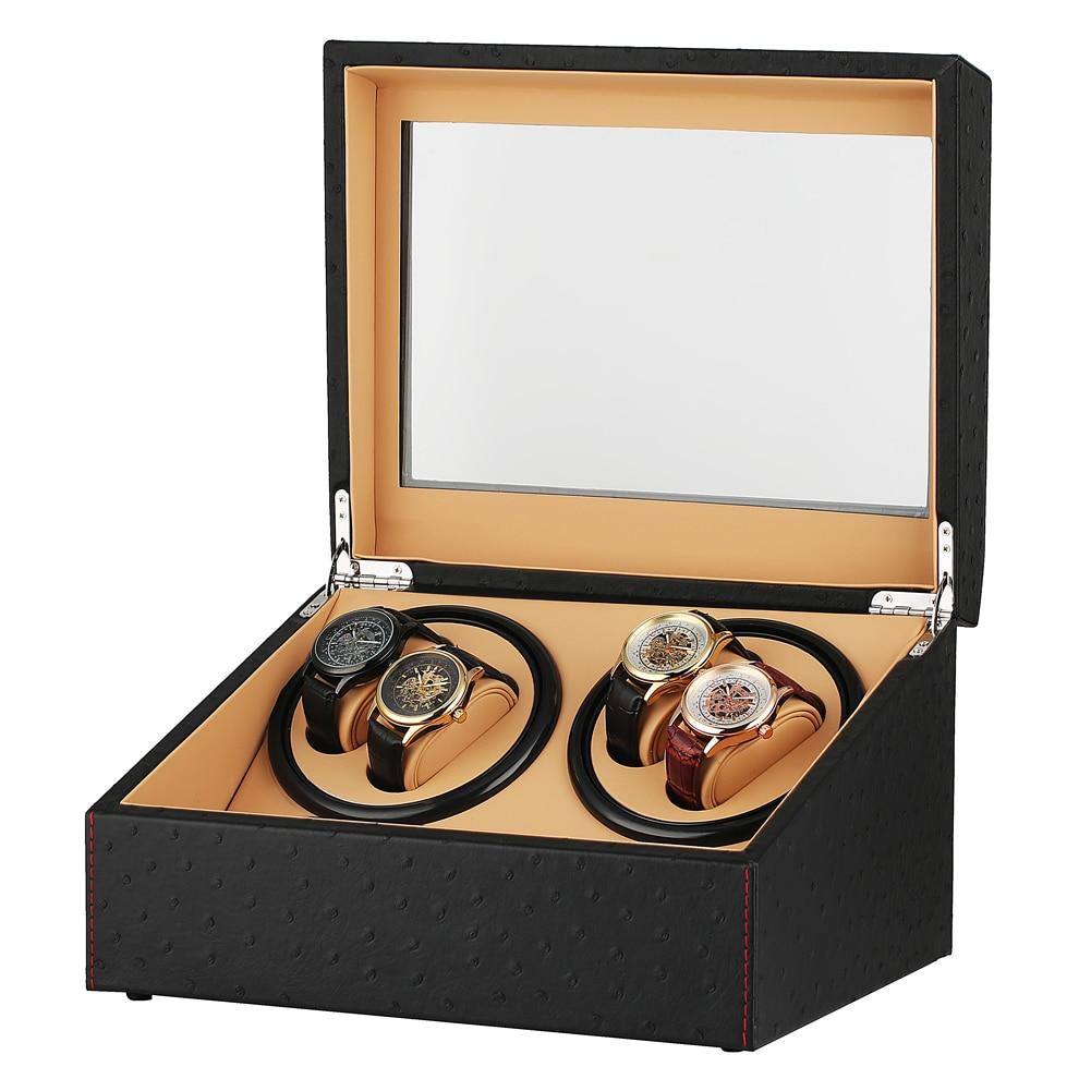 US/UK/AU/EU Plug remontoir de montre mécanique automatique noir 4 + 6 Collection montre présentoir noir silencieux moteurs boîtes de rangement