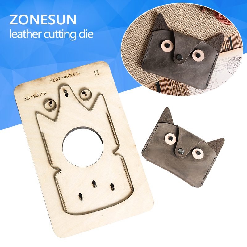 ZONESUN Home DIY Leather Wallet Cutting Patterns Die Hard Steel Knife Laser Punch die With Handmade Screwing Hole diy lattice pattern carbon steel cutting die