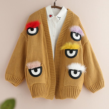 vintage 3D designer bird eyes monster harajuku embroidered sweet knitted chandail femme autumn winter thick coat lace up sweater