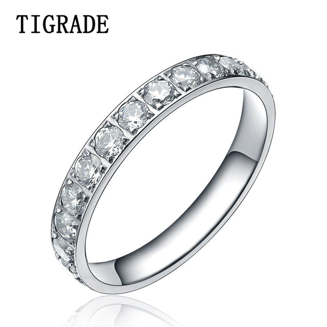b3de00e0fc TIGRADE 3mm Cubic Zirconia Titanium Ring Women Eternityt Wedding Band Engagement  Rings Promise Ring Female Jewelry