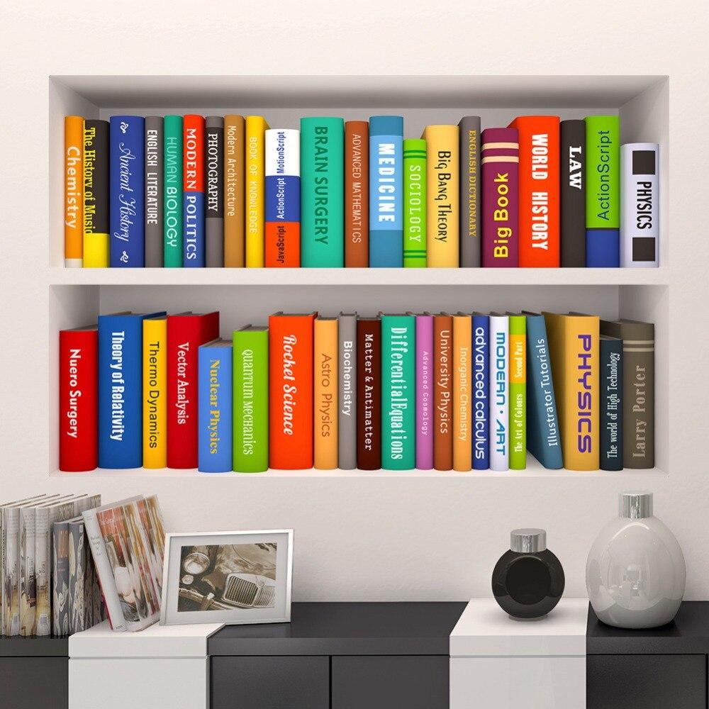 Cartoon Bookcase Book Wall Sticker Home Decoration Wall Decals For Kids Rooms Bedroom Kindergarten Wallpaper Study Room Poster