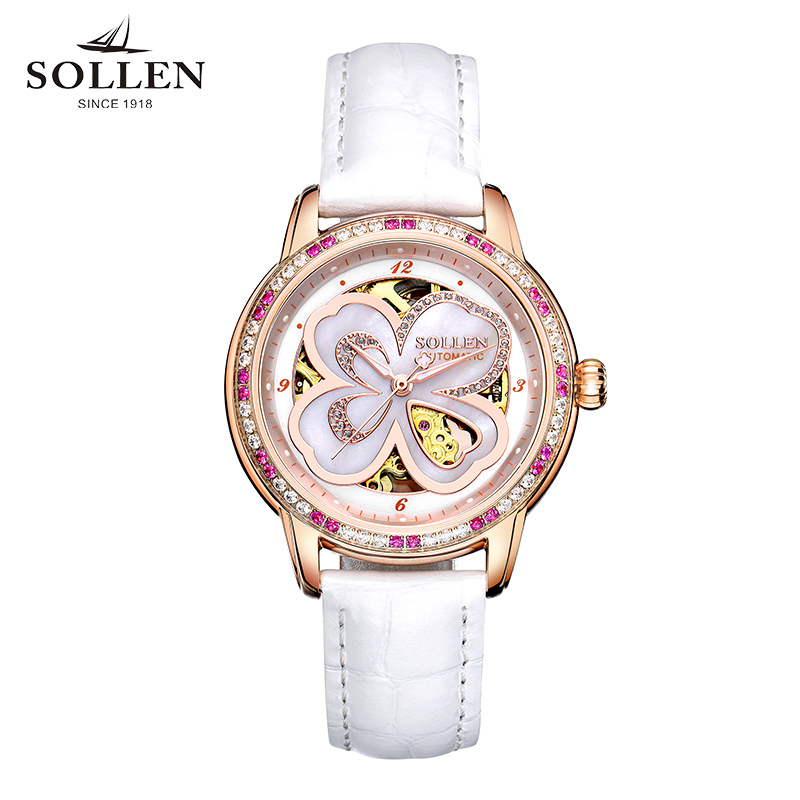 Relogio Feminino SOLLEN Brand Watches Women 2017 Fashion automatic mechanical Watch Female Elegant Dress Clock Montre Femme sollen clock women skeleton automatic mechanical watch new arrival design women fashion casual leather watches relogio femininos