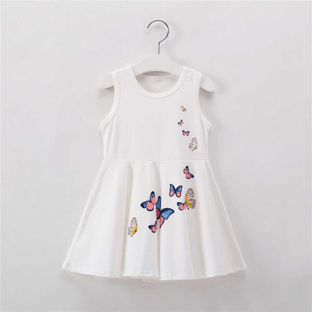 1-7Y Borboleta Meninas Do Bebê Vestido de Verão Da Menina Da Criança Vestidos de Princesa Branca Rosa Crianças Roupas de Algodão Crianças Roupas De Aniversário