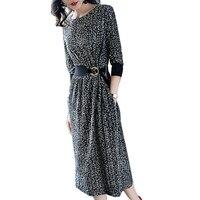 Spring And Summer Women S Elegant Dress 2018 Fashion Printing O Collar Velvet Dress European Style
