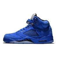 D'origine Jordan Retro 5 bleu taureaux de faire rage Raging Bull 2017 Homme Respirant Hommes de Basket-Ball Chaussures de Sport Sneakers 136027-401