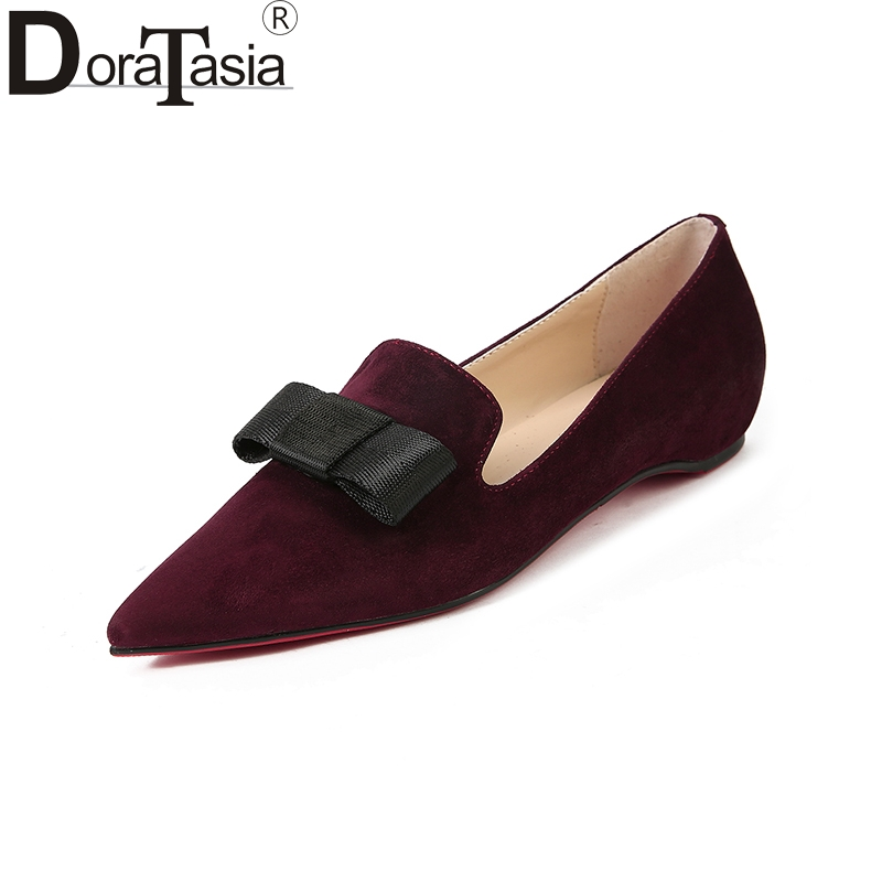DoraTasia 2018 Fashion Kid Suede Slip On Bowtie Pointed Toe Women Shoes Woman Casual Comfortable Flats Shoes Big Size 34-39 meotina brand design mules shoes 2017 women flats spring summer pointed toe kid suede flat shoes ladies slides black size 34 39