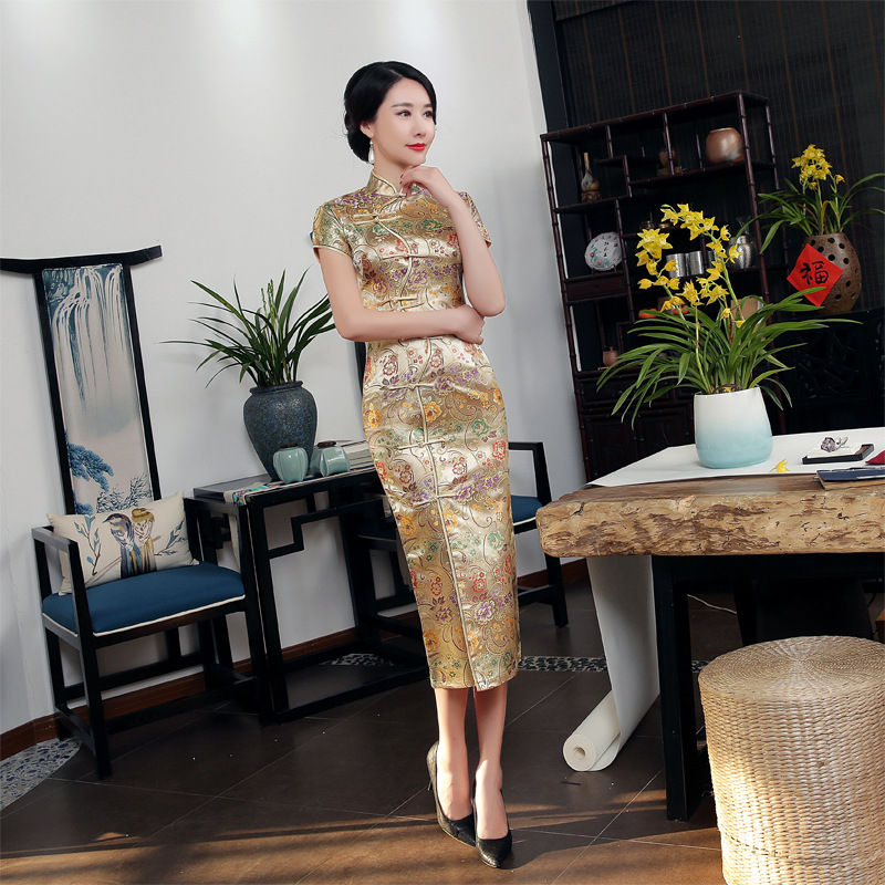 2018 High Quality Gold Sexy Satin Mandarin Collar National Tight Cheongsam Short Sleeve Novelty Print Long Dress S-3xl C0002 Novelty & Special Use Traditional Chinese Clothing