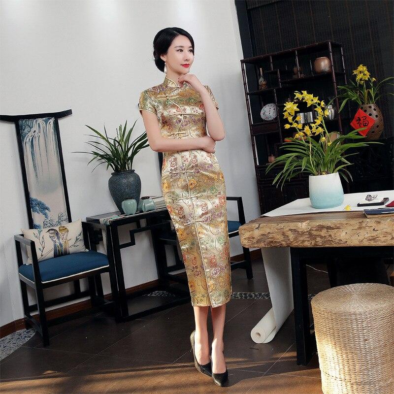 2018 Hoge Kwaliteit Goud Sexy Satijn Mandarijn Kraag Nationale Strakke Cheongsam Korte Mouwen Novelty Print Lange Jurk S-3xl C0002 Consumenten Eerst