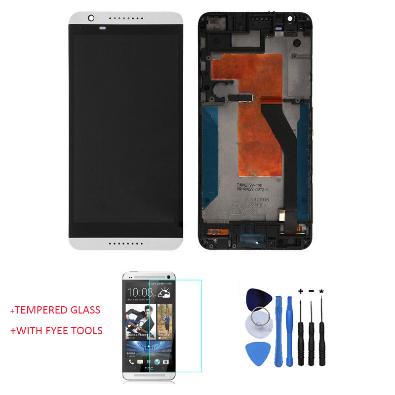 OEM 100% Test Working LCD Touch Screen Digitizer Assembly With Front Housing For HTC Desire 820 White + Tools & Tempered Glass