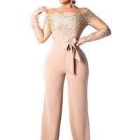 Overalls For Women Summer 2019 Bodycon Plus Size Jumpsuits Bodies Sexy Ladies Elegant Rompers Jumpsuit Lace Open Shoulder Tulum
