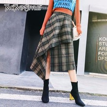 TWOTWINSTYLE Plaid Skirt Woolen Irregular Elastic High Waist Midi Long Skirts For Women 2018 Spring Fashion Vintage Clothing(China)