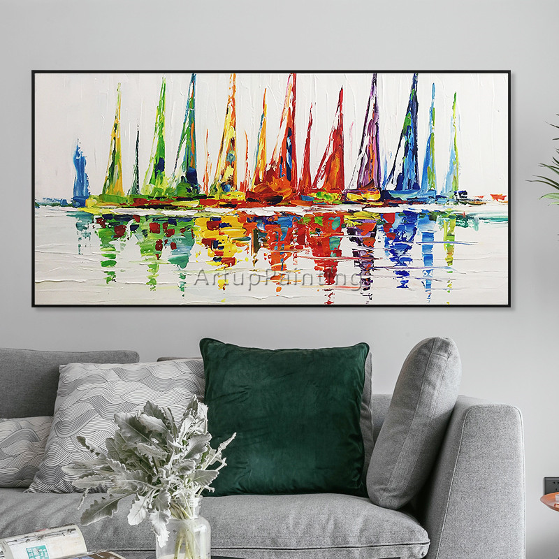 Akrylowy jacht statek łódź żeglarstwo malarstwo ręcznie malowane - Wystrój domu - Zdjęcie 1