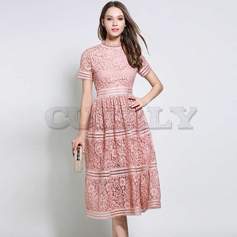 Cuerly 2019 Women High Quality Luxury Runway dress New fashion elegant Stand Neck big Hem vestido Summer Lace Patchwork Dresses in Dresses from Women 39 s Clothing