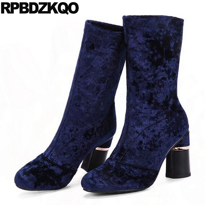 Autumn Chunky Elegant Blue Mid Calf Luxury Brand Shoes Women Round Toe Suede Designer High Heel Boots Fall Velvet Chinese Ladies most popular women summer mid calf boots high heel sandals open toe cutouts design elegant black stilettos ladies casual shoes