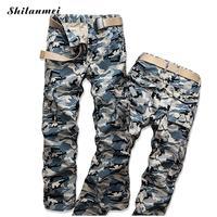 ฤดูร้อนบุรุษJoggersกางเกงพรางสีฟ้าD Rawstringผู้ชายกางเกงออกกำลังกายผ้าฝ้ายตรงกาง