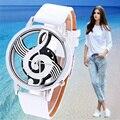 2015 más nuevo fresco reloj Retro Vogue mujeres relojes nota notación musical de cuero del cuarzo reloj de señora Girls reloj hora feliz regalo