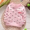 2015 Nuevo otoño 100% Algodón Ocasional simple Para Niños Niños Bebé Niño niña Pequeña gafas de impresión del o-cuello T-shirt Camiseta S1378