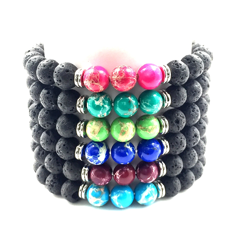 Hot Sell 8mm Volcanic Rock Lava Stone 6 Colors Imperial Bead Bangle Jewelry Men Bracelet 2018 Jewelry Gifts for Women B18065