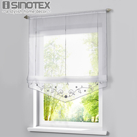 Roman Curtain Floral Printing Sheer Window Curtain For Kitchen Living Room Voile Screening Panel 1 PCS