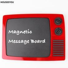 Imanes de nevera Retro tipo TV, tablero de tiza de plástico para notas de escritura de mensaje borrable, imán de nevera Vintage, decoraciones para el hogar