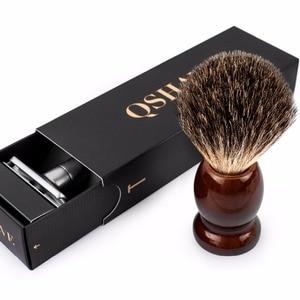 Image 5 - Qshave, Классическая Безопасная бритва с 100% чистым барсуком, щетка для бритья с подставкой для бритвы с двойной кромкой