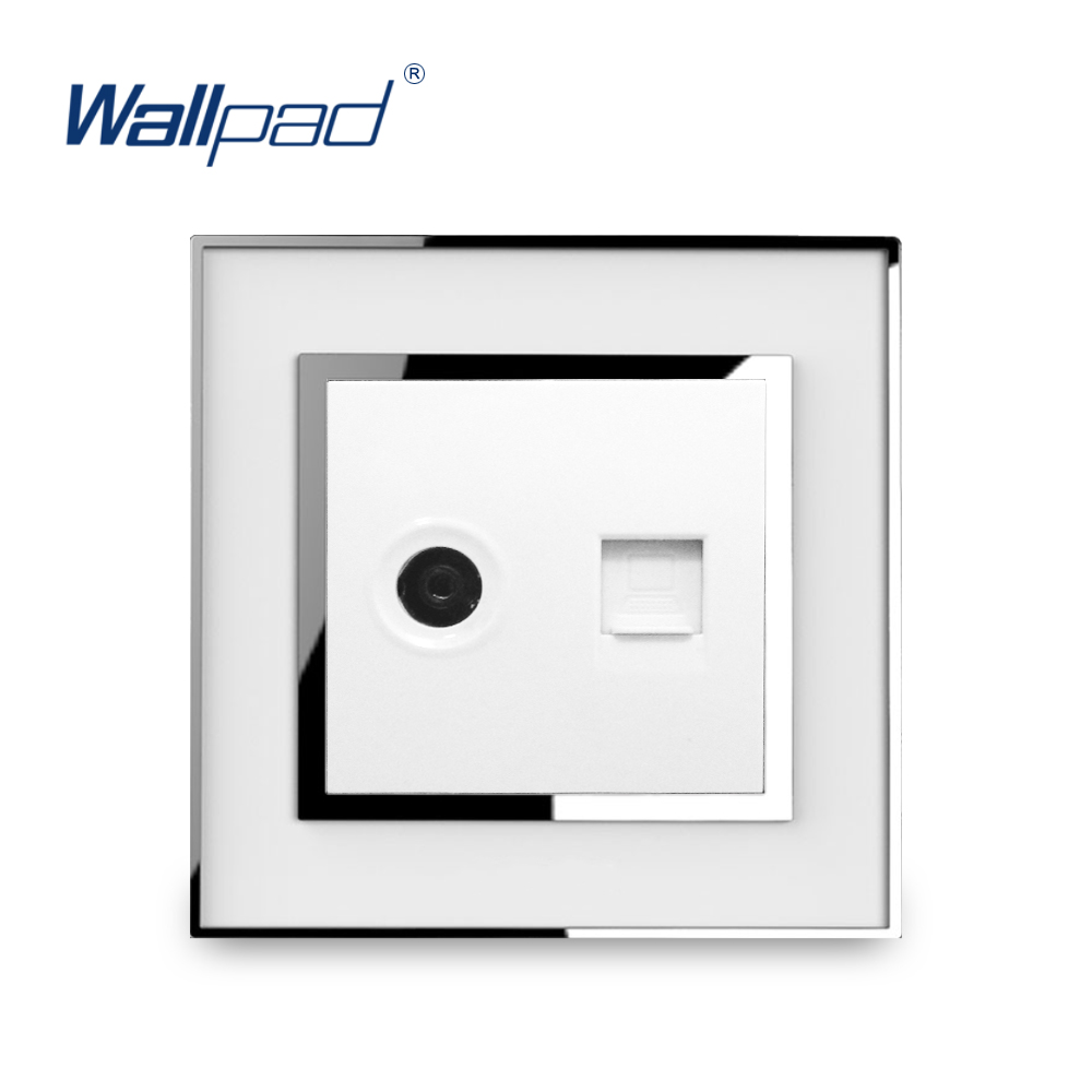 TV and Data Socket RJ45 Wallpad Luxury Wall Electric Phone Television Compunter Network Outlet Mirror Acrylic Panel Tomada цена