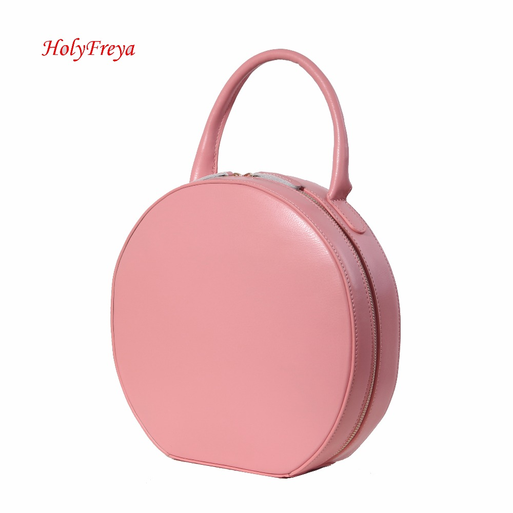 7490953901d5 Tan Pink Genuine Leather Handbags Women Bag Designer Leather Bags Luxury  Circular Round Bag Circle Leather Tote Clutch Female-in Top-Handle Bags  from ...