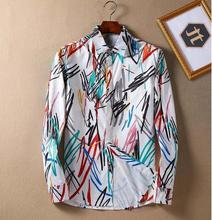Luxury Brand Mens Dress Shirts 2017 hot sale Fashion Design Printed Men Slim Fit Shirt Long Sleeve BH054