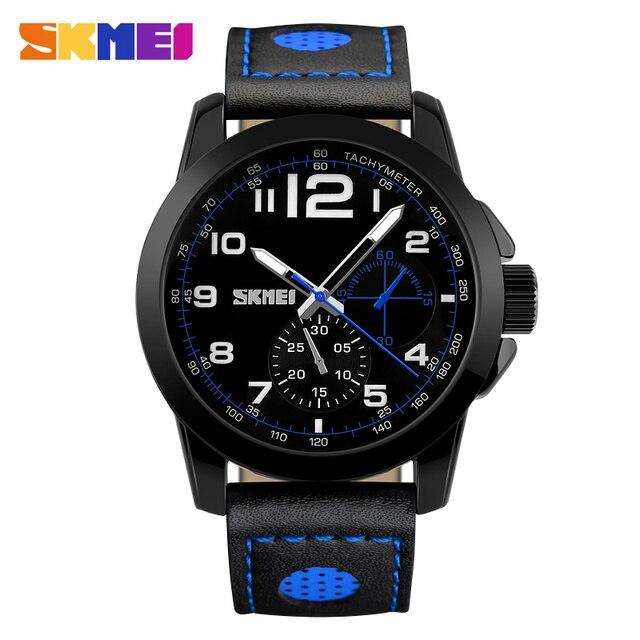Men Watches SKMEI Luxury Brand Men's Fashion Casual Sport Watches Men Waterproof Leather Quartz Watch Man military Clock Watch