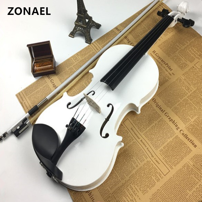 ZONAEL  4/4 Violin  White Fiddle 4-String Instrument basswood Both Beginner Top Quality V001 handmade new solid maple wood brown acoustic violin violino 4 4 electric violin case bow included