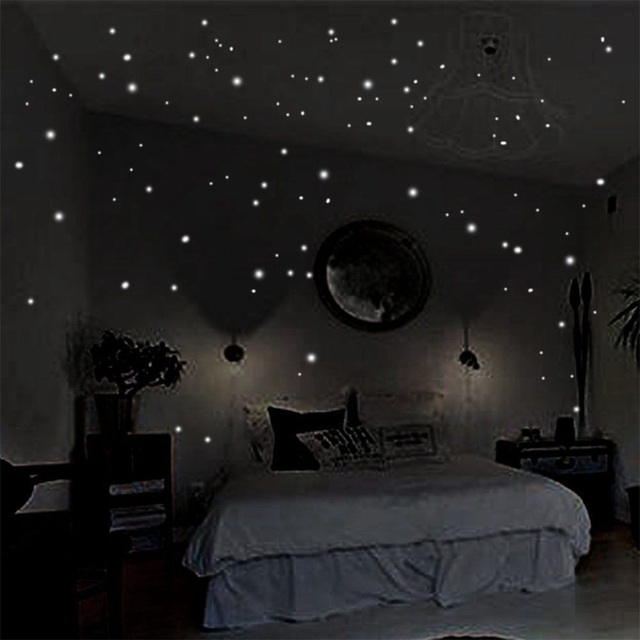 Glow In The Dark Star Wall Stickers 2 Sheets Round Dot