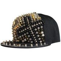 Janvancy Punk Baseball Caps Men Women Flat Bone Snapback Steampunk Hats Ghost Head Rivet Street Hipster Cross