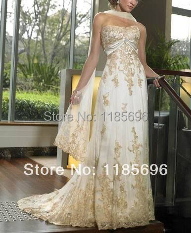 Us 154 0 2014 New With Out Tag A Line Custom Golden Applique Wedding 50th Anniversary Dress Gown Size 4 6 8 10 12 14 16 18 20 22 In Wedding