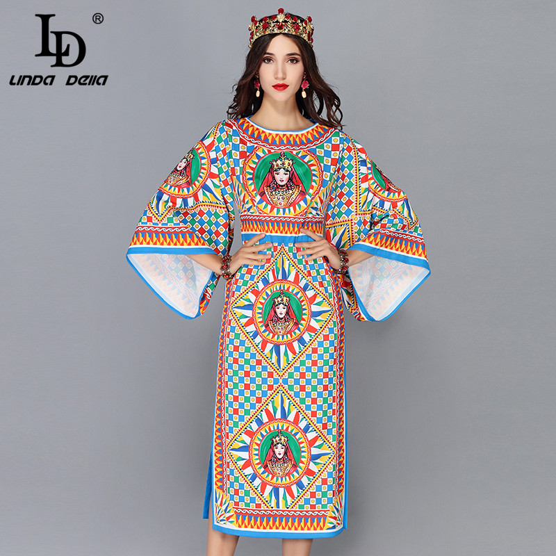 LD LINDA DELLA Runway Designer Autumn Dress 5XL Plus Size Women s Flare Sleeve pattern Printed