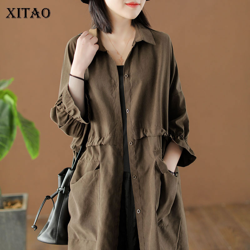 XITAO Plus Size Long Cardigans   Trench   Women Korea Fashion Single Breasted Turn Down Collar Wild Joker Elegant Pocket WLD2254