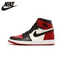 Nike Air Jordan 1 Aj1 Black Red Male Basketball Shoe Sneakers Original 555088 610