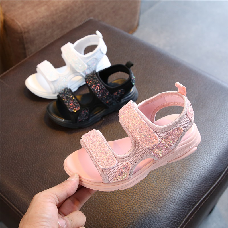1 2 3 4 5 6 7 8 9 10 Years New Little Girls Baby Summer White Pink Sequin Princess Sandals For Teens Girls School Sandal Shoes