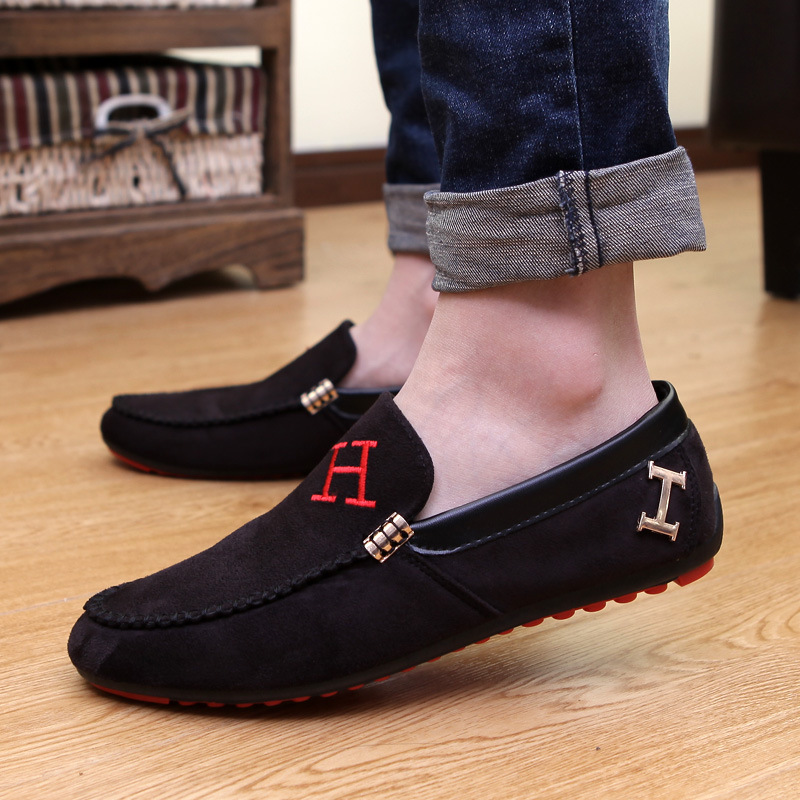 2015 Men Black Loafers Shoes Trendy Nubuck Leather Slip on