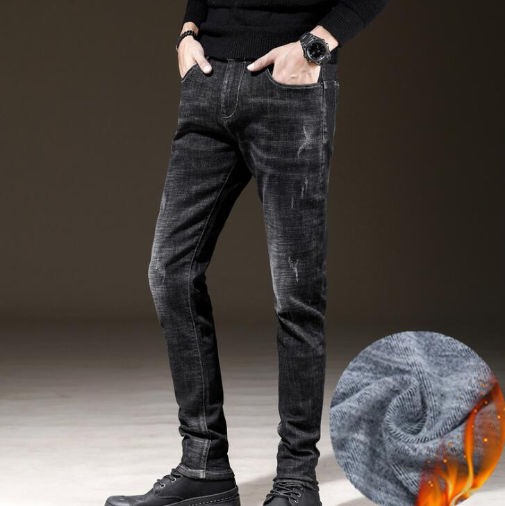 99d1b24f506 Moda Popular 2019 pantalones vaqueros elásticos de cintura media para  hombre en oferta descuento pantalones de hombre con estilo