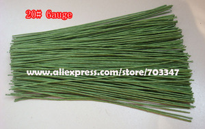 """Image 2 - Big Order Big Discount!! 600pcs X 20# Gauge Floral Stem Wire 9.4"""" In  Green And White"""