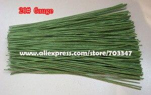 """Image 2 - Duży rabat!! 600 sztuk X 20 # miernik Floral macierzystych drutu 9.4 """"w zielony i biały"""