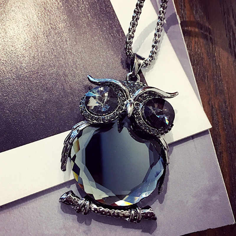 2019 Hot Fashion Womens Necklaces Jewelry Trendy Charms Crystal Owl Necklace black Long Chain Animal Necklaces&Pendants Sale