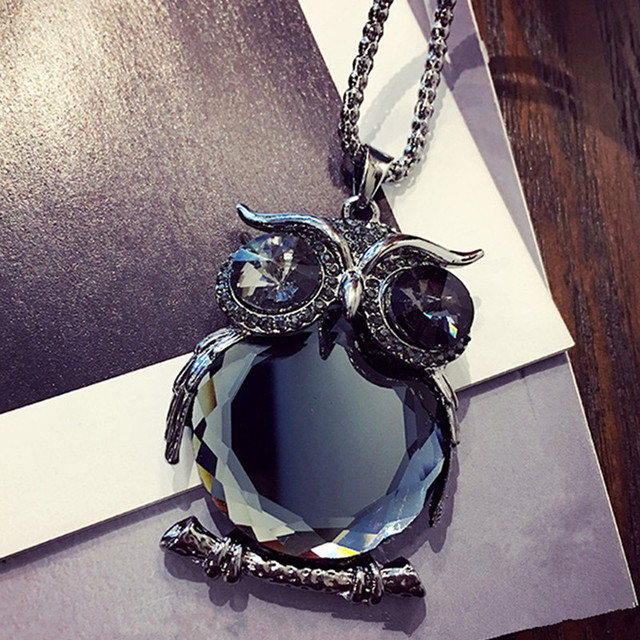 Crystal Owl Necklace black Long Chain