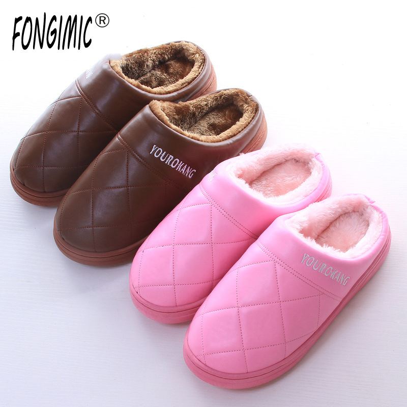 FONGIMIC Men Women Winter Warm Cotton Leather Slippers Soft Fur Home Shoes Indoor Flat Floor Shoes New Couples Plush Footwear plush winter slippers indoor animal emoji furry house home with fur flip flops women fluffy rihanna slides fenty shoes