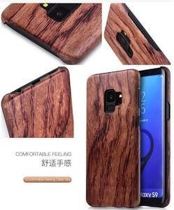 Image 2 - Funda para Samsung Galaxy S10 S10 + S10e S9/S9 + S9 ultra Plus madera de nogal Enony palisandro caoba parte posterior de madera