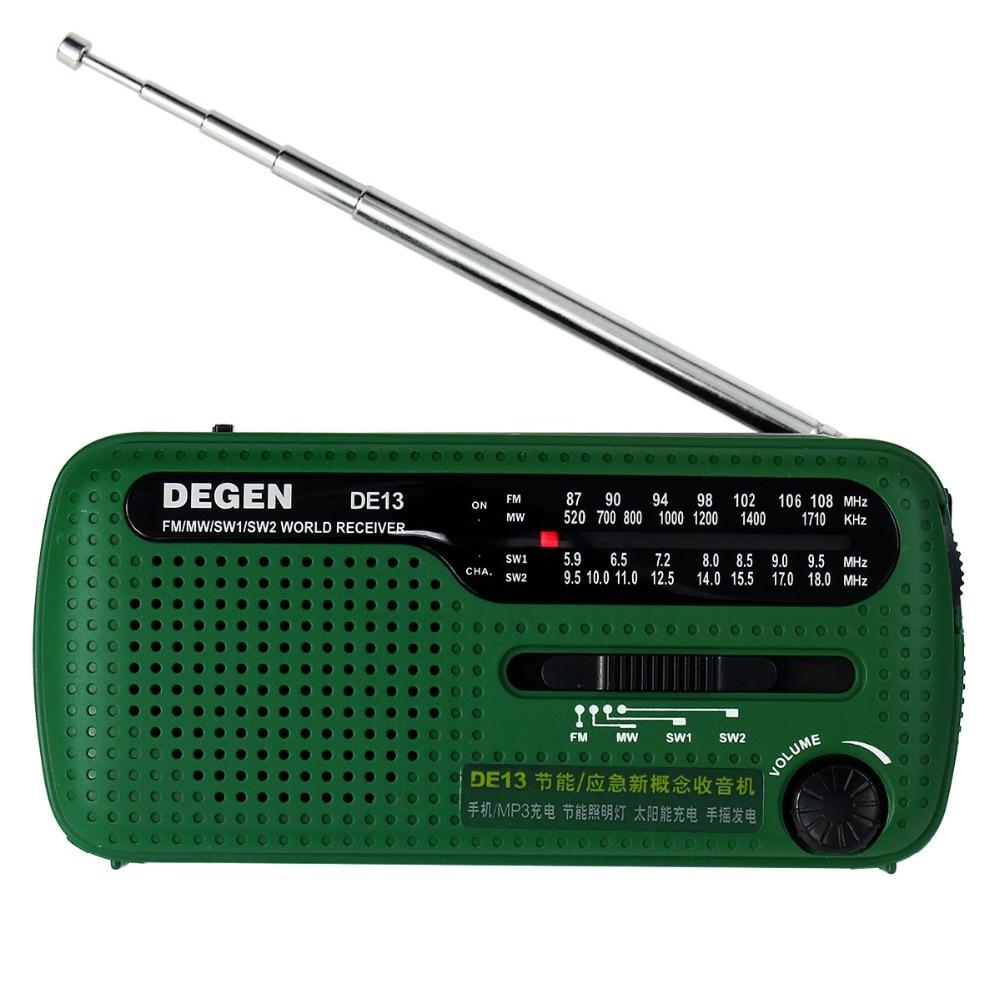 Mini DEGEN DE13 Radio FM MW SW Radio Crank Dynamo Solar Emergency Radio Multiband Radio Receiver Best A0798A tivdio v 116 fm mw sw dsp shortwave transistor radio receiver multiband mp3 player sleep timer alarm clock f9206a