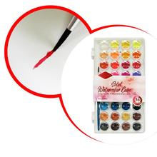 36 Colors Solid Watercolor Pigment Cake Brush Set Artist Drawing Painting Tool